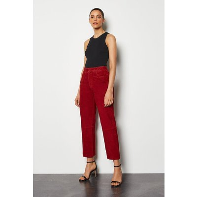 Suede Straight Leg Trouser Red, Red