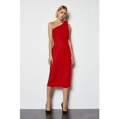 Bow Detail Midi Dress Red, Red