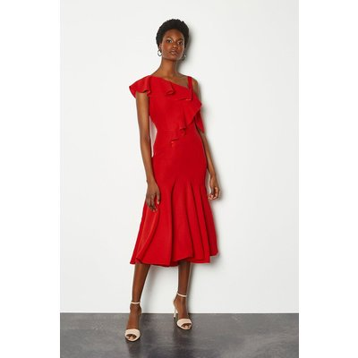 One Shoulder Ruffle Dress Red, Red
