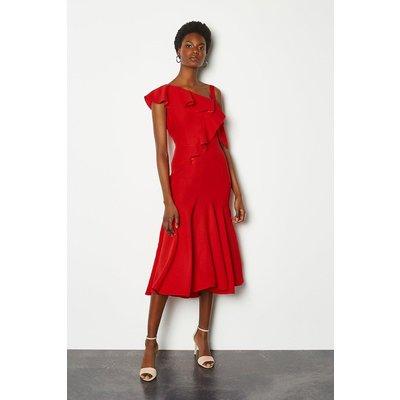 Karen Millen One Shoulder Ruffle Dress, Red