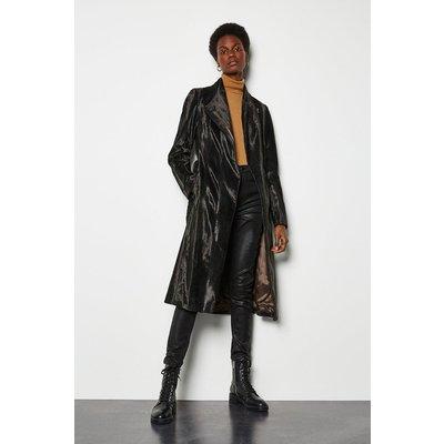Karen Millen Printed Pony Wrap Coat, Black