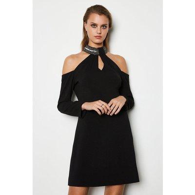 Karen Millen Jewelled Neckline Dress, Black
