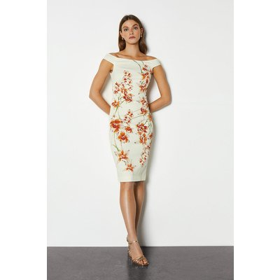 Italian Stretch Orchid Print Pencil Dress Multi, Multi