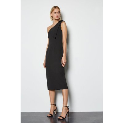 Bow Detail Midi Dress Black, Black