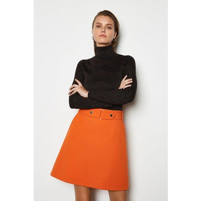 Cinch Waist A-Line Skirt Orange, Orange