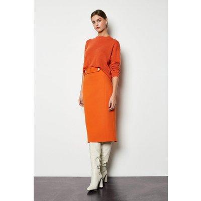 Cinch Waist Pencil Skirt Orange, Orange