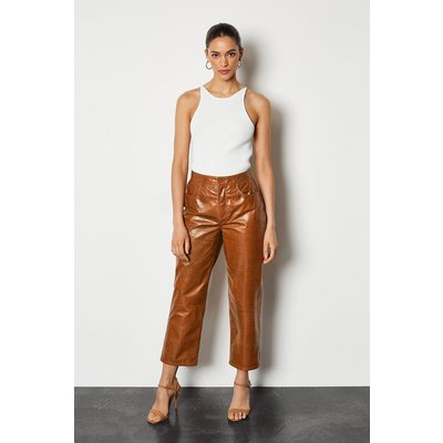 Leather Straight Leg Cropped Trouser Tan, Tan