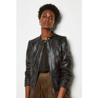 Perforated Leather Bomber Jacket Black, Black