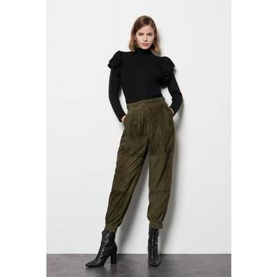 Suede Cargo Trousers Taupe, Taupe