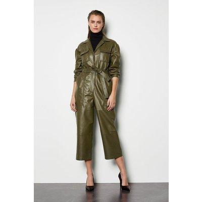 Karen Millen Leather Long Sleeve Jumpsuit, Khaki/Green