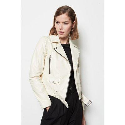 Belted Leather Biker Jacket Ivory, Ivory