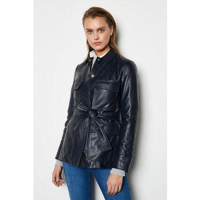 Belted Safari Leather Jacket Navy, Navy