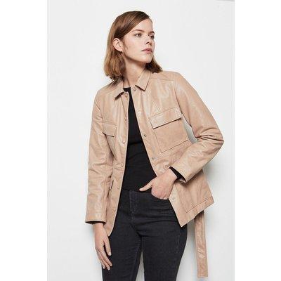 Belted Safari Leather Jacket Rose, Pink