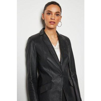 Leather Blazer Black, Black