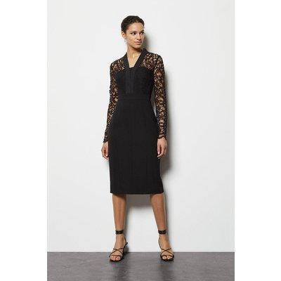 Lace Tailoring Dress Black, Black
