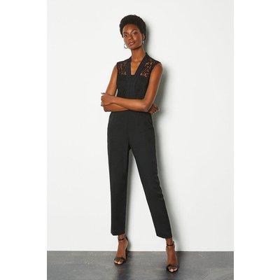 Lace Tailored Jumpsuit Black, Black