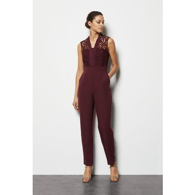 Lace Tailored Jumpsuit Red, Red