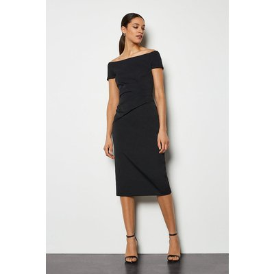 Bardot Ruched Midi Dress Black, Black