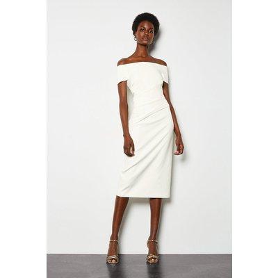 Bardot Ruched Midi Dress Ivory, Ivory