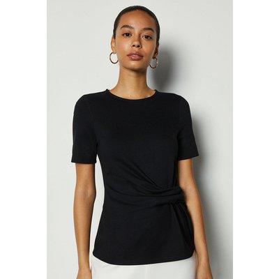 Jersey Ponte Drape Short Sleeve Top Black, Black