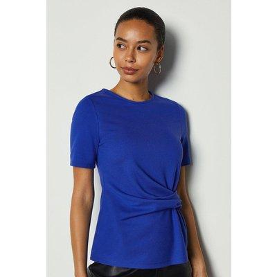 Jersey Ponte Drape Short Sleeve Top Blue, Blue