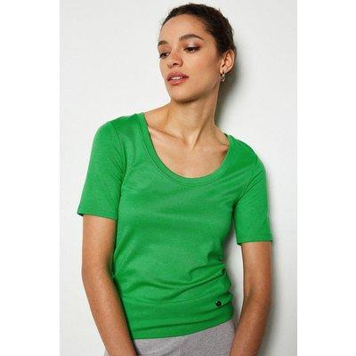 Scoop Neck Jersey Top Green, Green