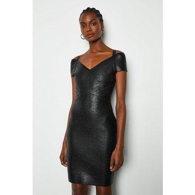 Bandage Short Dress Cap Sleeve Black, Black