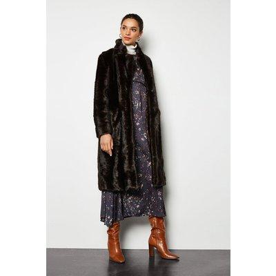 Faux Fur Midi Length Coat Brown, Brown