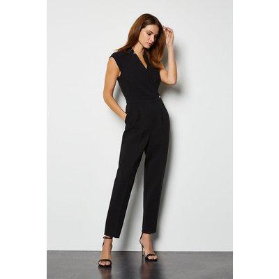 Collar Wrap Jumpsuit Black, Black