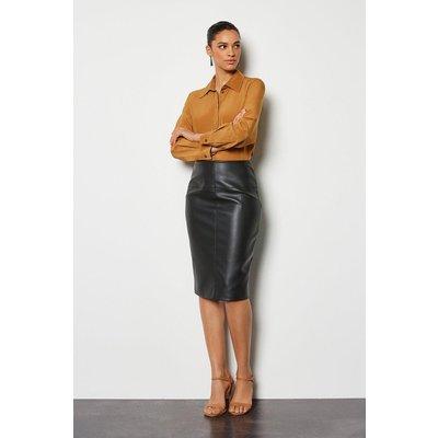 PU Pencil Skirt Black, Black