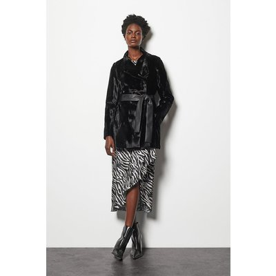 Karen Millen Faux-Fur Coat, Black