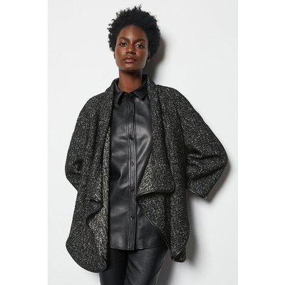 Tweed & PU Cape Black, Black