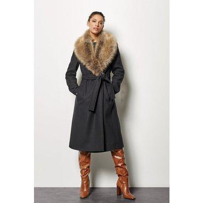 Forever Wrap Coat With Fur Collar Black, Black