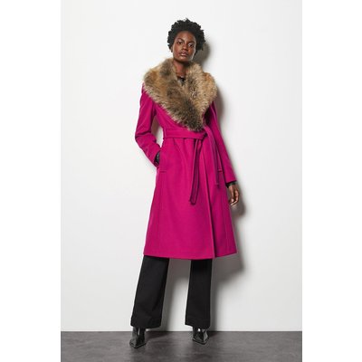 Forever Wrap Coat With Fur Collar Pink, Pink
