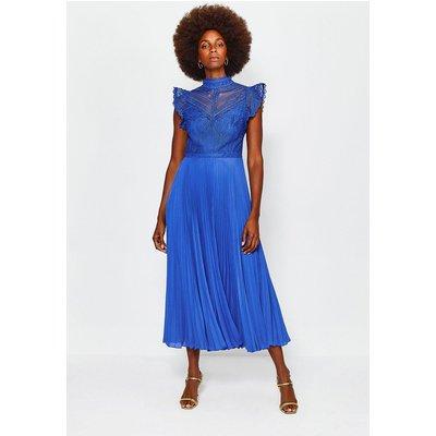 Karen Millen Chemical Lace Midi Dress, Blue