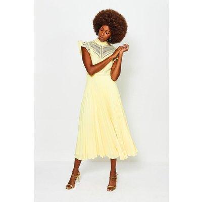 Karen Millen Chemical Lace Midi Dress, Yellow