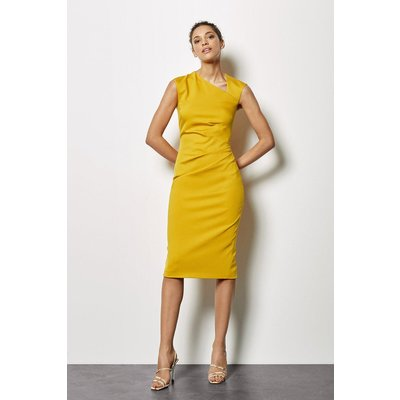 Asymmetric Tuck Pencil Dress Mustard, Yellow
