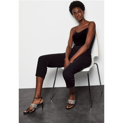 Velvet Bustier Jumpsuit Black, Black
