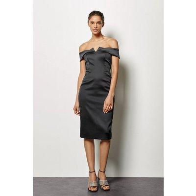 Origami Satin Bandeau Dress Black, Black