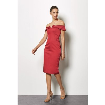 Origami Satin Bandeau Dress Red, Red