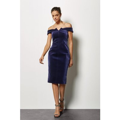 Galaxy Velvet Bardot Dress Purple, Purple
