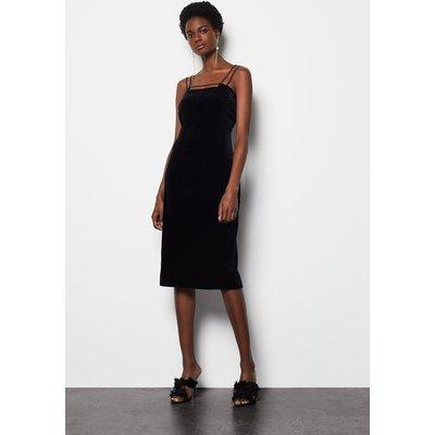 Velvet Strap & Bar Dress Black, Black