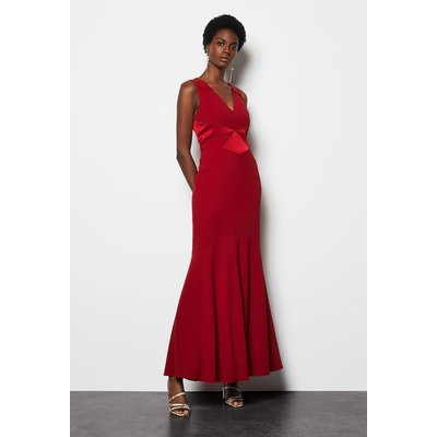 Fishtail Maxi Dress Red, Red
