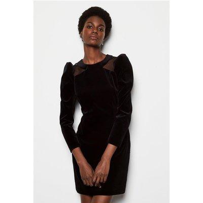 Dramatic Shoulder Velvet Dress Black, Black
