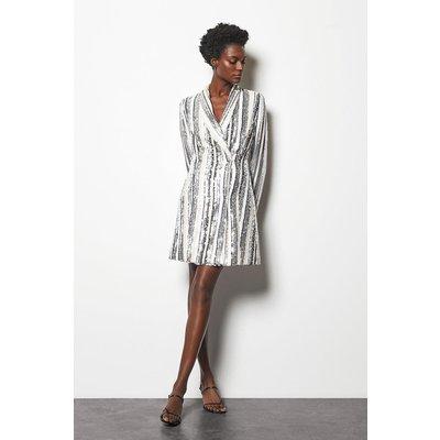 Karen Millen Sequin Stripe Dress, Blackwhite