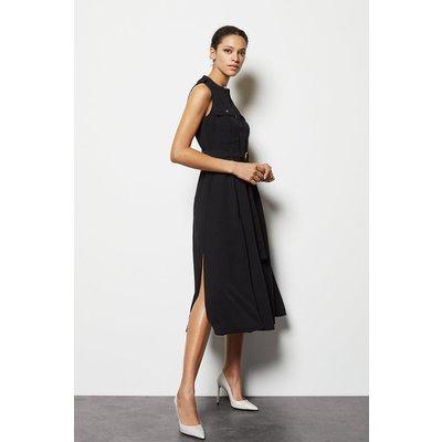 Belted Shirt Dress Black, Black