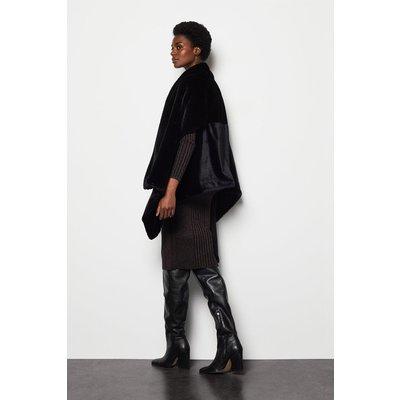 Faux Fur Shawl Black, Black