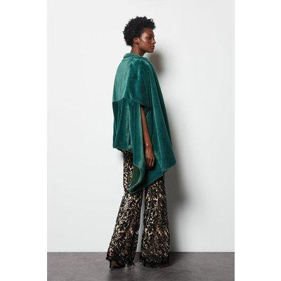 Faux Fur Shawl Green, Green/Emerald