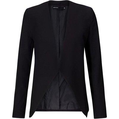 Crop Waterfall Tailored Blazer Black, Black