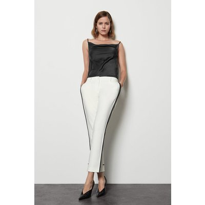 Tailored Stretch Piped Leg Trouser White, White